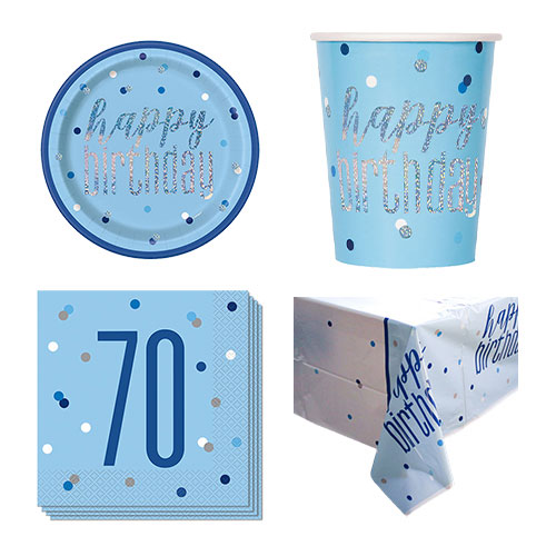 Blue Glitz 70th Birthday 8 Person Value Party Pack