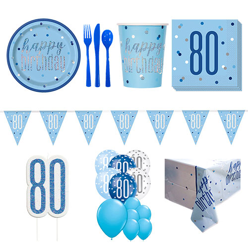 Blue Glitz 80th Birthday 16 Person Deluxe Party Pack Product Image