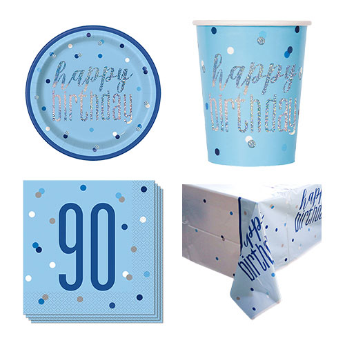 Blue Glitz 90th Birthday 8 Person Value Party Pack Product Image