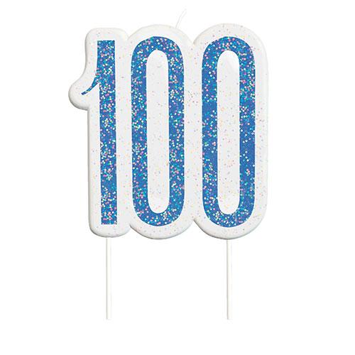 Blue Glitz Age 100 Birthday Candle 9cm