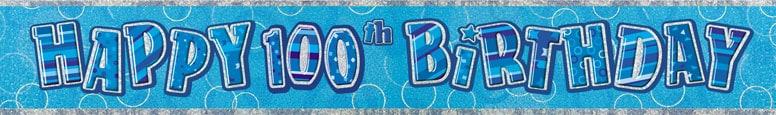 Blue Glitz 100th Birthday Prismatic Banner - 12 Ft / 366cm