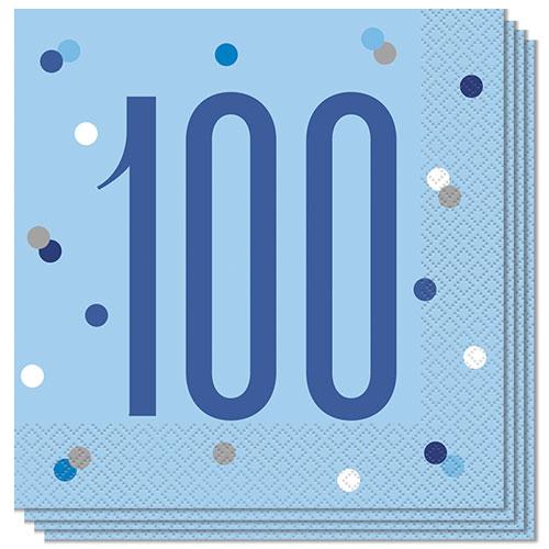 Blue Glitz Age 100 Luncheon Napkins 33cm 2Ply - Pack of 16 Bundle Product Image