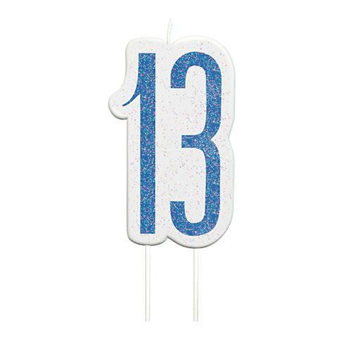 Blue Glitz Age 13 Birthday Candle 9cm Bundle Product Image