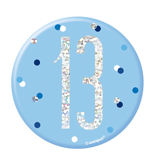 Blue Glitz Age 13 Holographic Birthday Badge 7cm