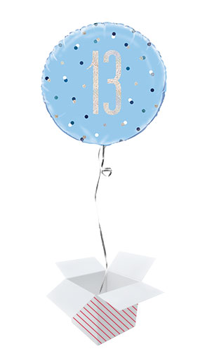 Blue Glitz Age 13 Holographic Round Foil Helium Balloon - Inflated Balloon in a Box