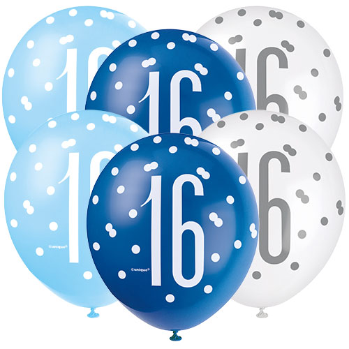 Blue Glitz Age 16 Assorted Biodegradable Latex Balloons 30cm / 12 in - Pack of 6 Product Image