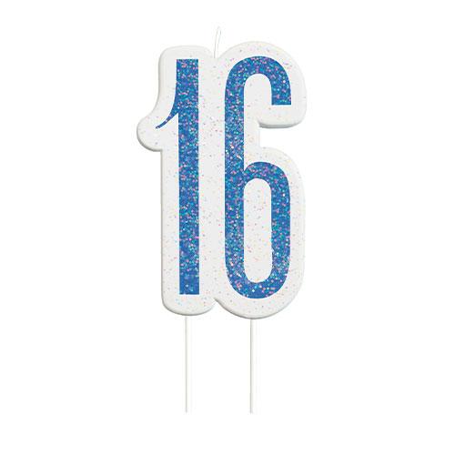 Blue Glitz Age 16 Birthday Candle 9cm