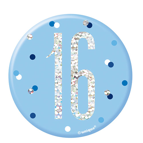 Blue Glitz Age 16 Holographic Birthday Badge 7cm Product Image