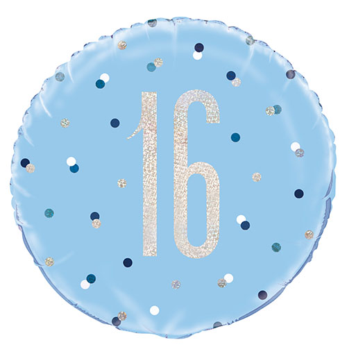 Blue Glitz Age 16 Holographic Round Foil Helium Balloon 46cm / 18 in