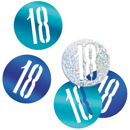 Blue Glitz Age 18 Holographic Assorted Table Confetti 14 Grams