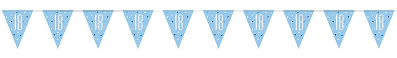Blue Glitz Age 18 Holographic Foil Pennant Bunting 274cm