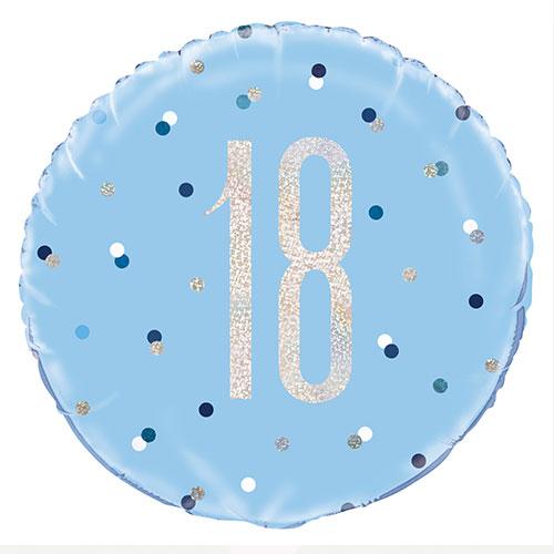 Blue Glitz Age 18 Holographic Round Foil Helium Balloon 46cm / 18 in