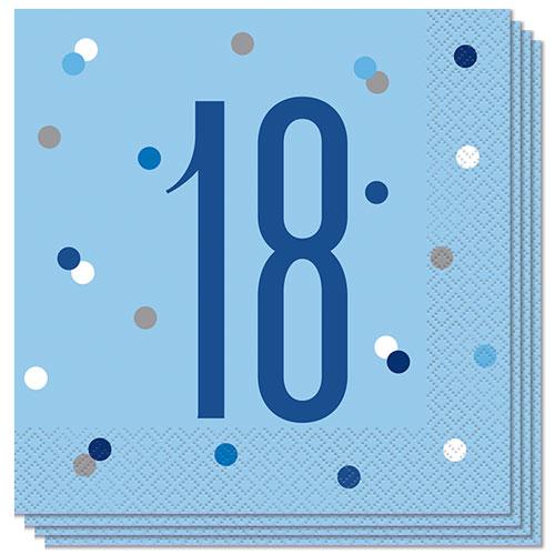 Blue Glitz Age 18 Luncheon Napkins 33cm 2Ply - Pack of 16 Bundle Product Image