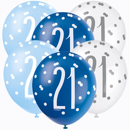 Blue Glitz Age 21 Assorted Biodegradable Latex Balloons 30cm / 12 in - Pack of 6 Bundle Product Image