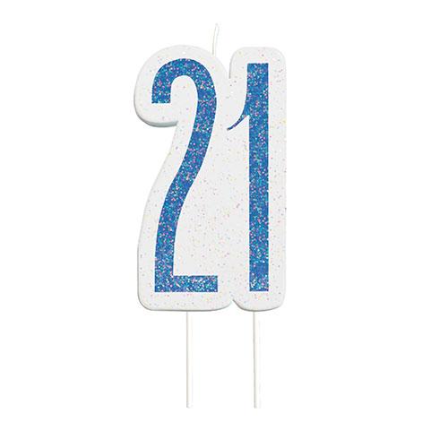 Blue Glitz Age 21 Birthday Candle 9cm