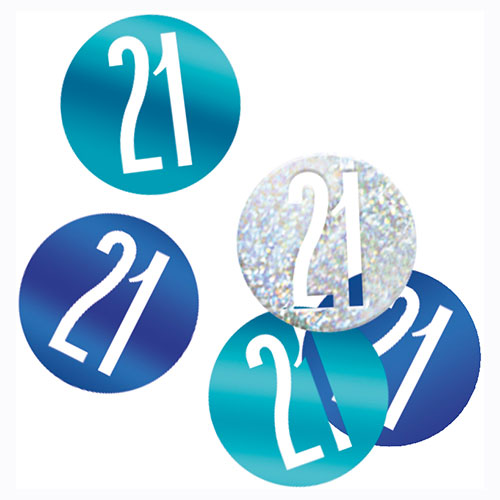Blue Glitz Age 21 Holographic Assorted Table Confetti 14 Grams