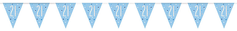 Blue Glitz Age 21 Holographic Foil Pennant Bunting 274cm