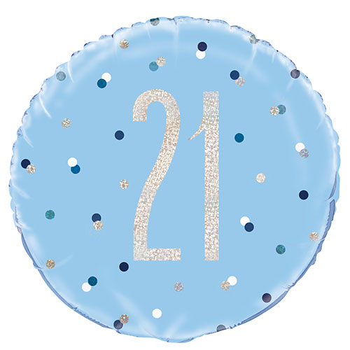 Blue Glitz Age 21 Holographic Round Foil Helium Balloon 46cm / 18 in