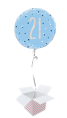 Blue Glitz Age 21 Holographic Round Foil Helium Balloon - Inflated Balloon in a Box