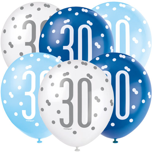 Blue Glitz Age 30 Assorted Biodegradable Latex Balloons 30cm / 12 in - Pack of 6 Bundle Product Image