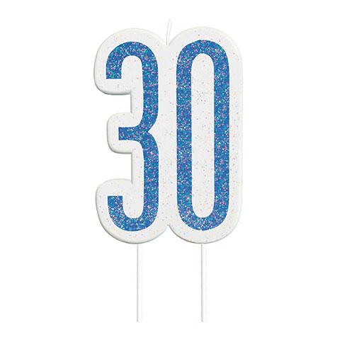 Blue Glitz Age 30 Birthday Candle 9cm