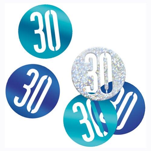 Blue Glitz Age 30 Holographic Assorted Table Confetti 14 Grams
