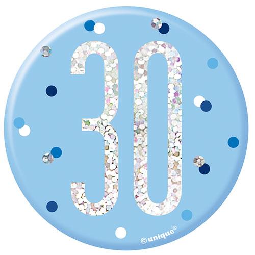 Blue Glitz Age 30 Holographic Birthday Badge 7cm