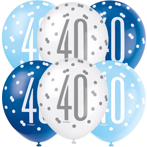 Blue Glitz Age 40 Assorted Biodegradable Latex Balloons 30cm / 12 in - Pack of 6 Product Image