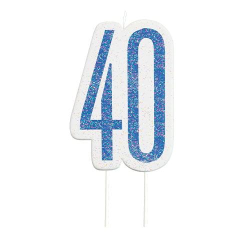 Blue Glitz Age 40 Birthday Candle 9cm