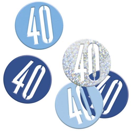 Blue Glitz Age 40 Holographic Assorted Table Confetti 14 Grams