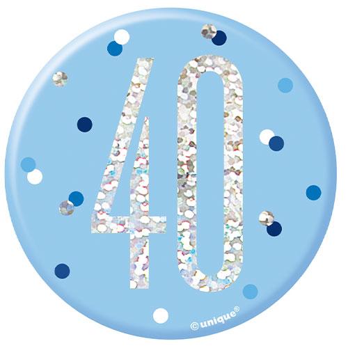 Blue Glitz Age 40 Holographic Birthday Badge 7cm Product Image