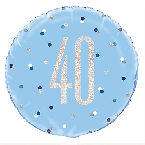 Blue Glitz Age 40 Holographic Round Foil Helium Balloon 46cm / 18 in