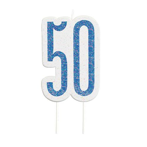 Blue Glitz Age 50 Birthday Candle 9cm