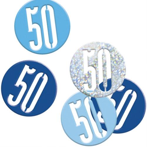 Blue Glitz Age 50 Holographic Assorted Table Confetti 14 Grams