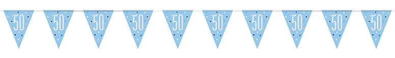 Blue Glitz Age 50 Holographic Foil Pennant Bunting 274cm