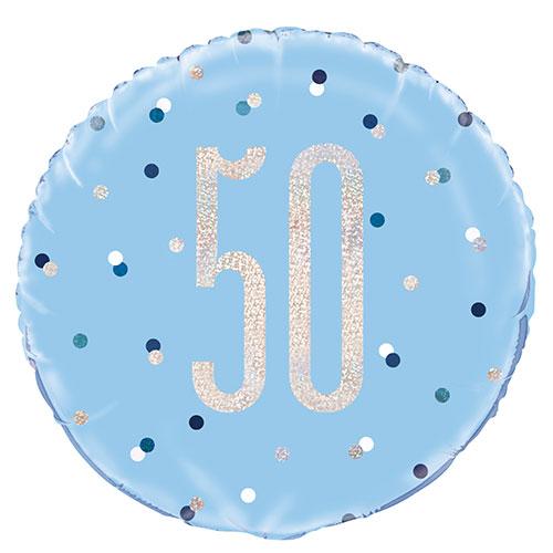 Blue Glitz Age 50 Holographic Round Foil Helium Balloon 46cm / 18 in