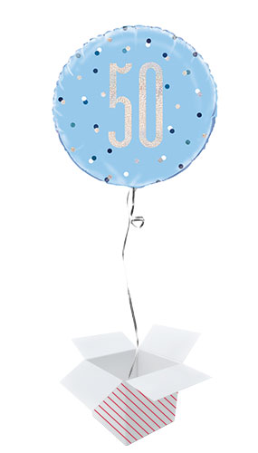 Blue Glitz Age 50 Holographic Round Foil Helium Balloon - Inflated Balloon in a Box