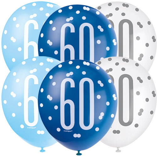 Blue Glitz Age 60 Assorted Biodegradable Latex Balloons 30cm / 12 in - Pack of 6