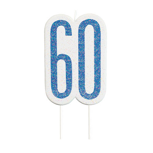 Blue Glitz Age 60 Birthday Candle 9cm Bundle Product Image