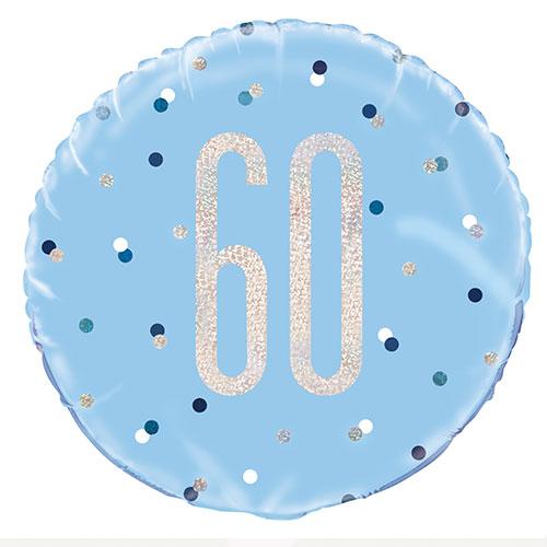 Blue Glitz Age 60 Holographic Round Foil Helium Balloon 46cm / 18 in