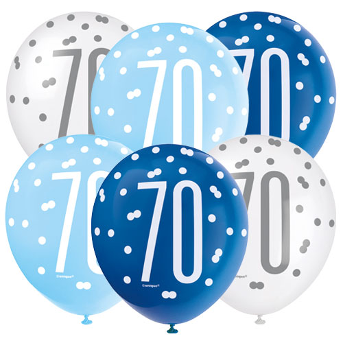 Blue Glitz Age 70 Assorted Biodegradable Latex Balloons 30cm / 12 in - Pack of 6 Bundle Product Image