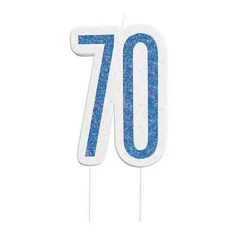 Blue Glitz Age 70 Birthday Candle 9cm