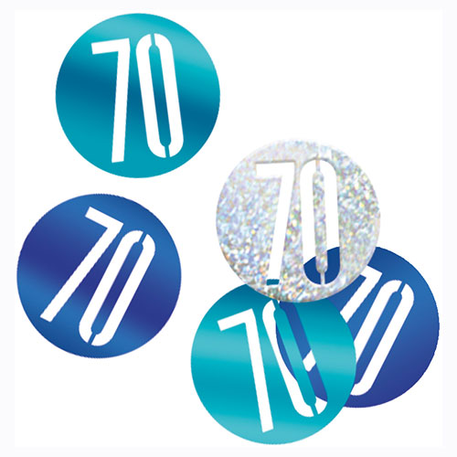 Blue Glitz Age 70 Holographic Assorted Table Confetti 14 Grams Product Image