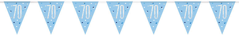 Blue Glitz Age 70 Holographic Foil Pennant Bunting 274cm