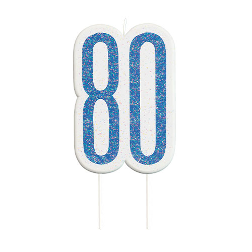 Blue Glitz Age 80 Birthday Candle 9cm