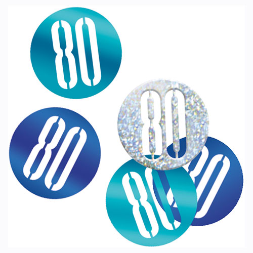 Blue Glitz Age 80 Holographic Assorted Table Confetti 14 Grams Product Image