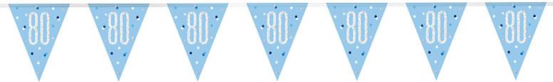 Blue Glitz Age 80 Holographic Foil Pennant Bunting 274cm