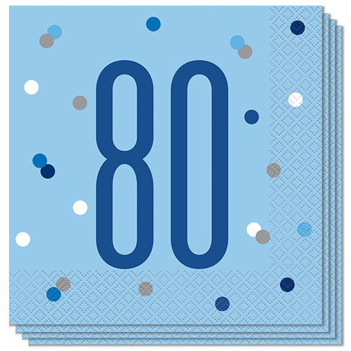 Blue Glitz Age 80 Luncheon Napkins 33cm 2Ply - Pack of 16 Bundle Product Image