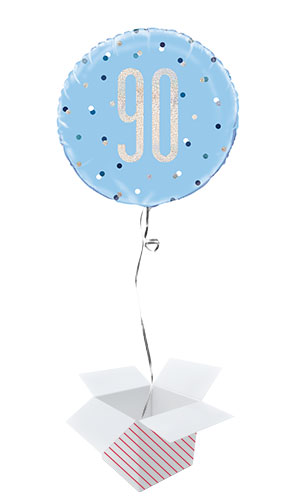 Blue Glitz Age 90 Holographic Round Foil Helium Balloon - Inflated Balloon in a Box
