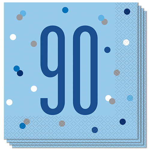 Blue Glitz Age 90 Luncheon Napkins 33cm 2Ply - Pack of 16 Bundle Product Image